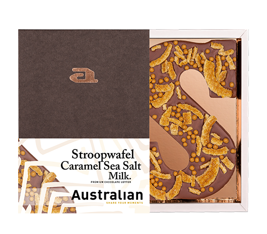 Chocolate letter stroopwafel sea salt milk