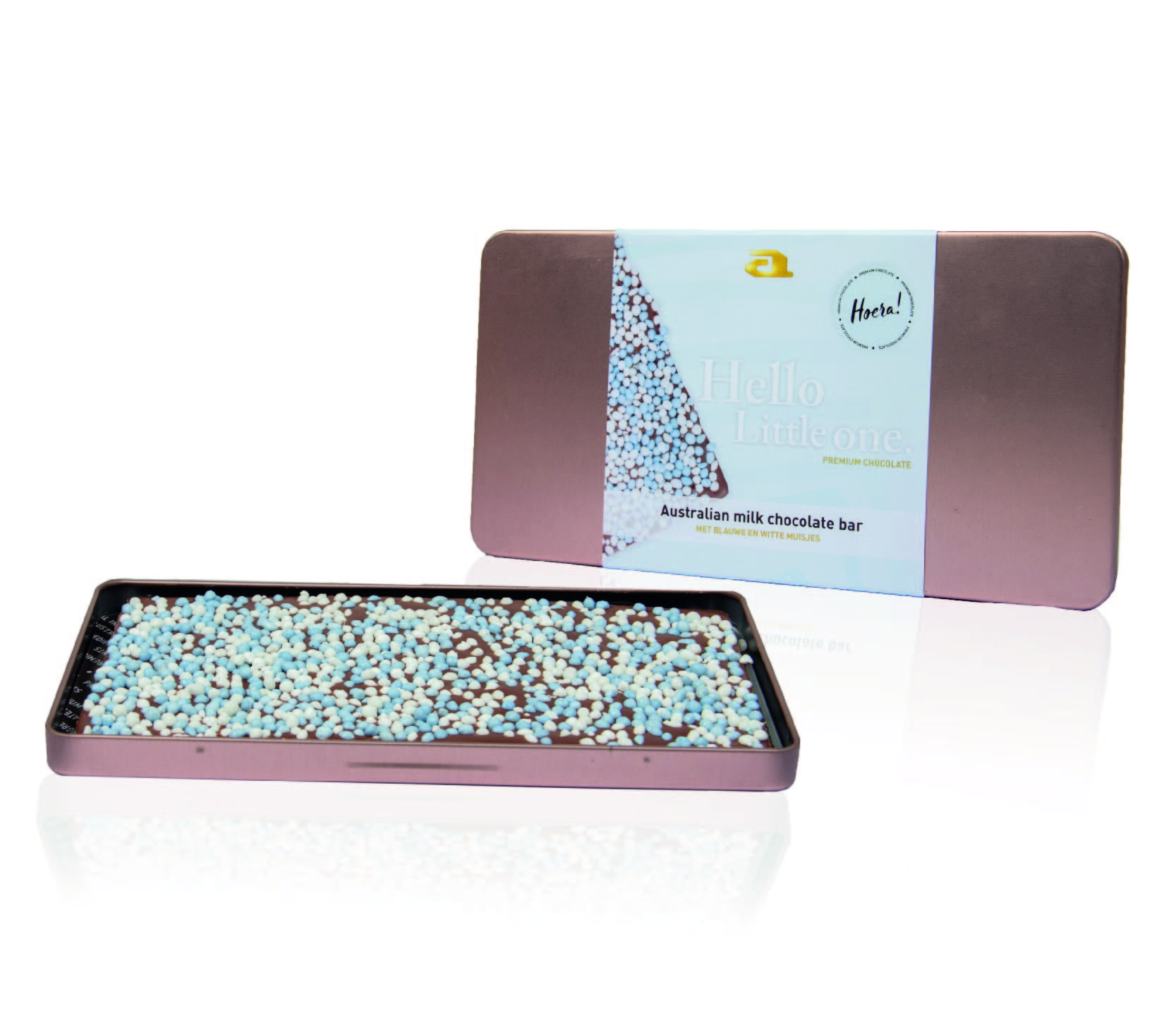 Luxury chocolate steelbox bar milk baby blue